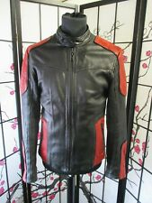 """Suicide Squad Deadshot Black and Red Leather Biker Style Jacket Size S/38""""    A2"""