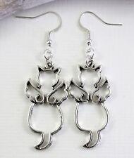 Wing Cat Charm Earrings - Dangle Drop Silver Tone Kitch Jewellery Angel Pet