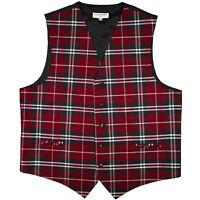 New Polyester Men Tuxedo Vest Waistcoat only plaid & checker red wedding