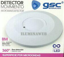 INTERRUPTOR DETECTOR de MOVIMIENTO SUPERFICIE Sensor 360º por MICROONDAS
