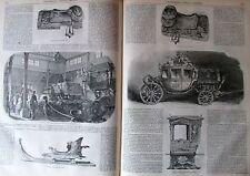 CARROSSE TRAINEAU CHAISE PORTEUR MUSEE VERSAILLE GRAVURE L'ILLUSTRATION 1851