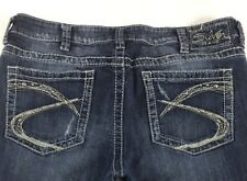 Silver LOLA FLARE Womens Jeans Distressed Destroyed Jeans Sz 33 Waist 35