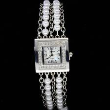 Womens Square Face Pearl Simulate Band CZ Bezel Bracelet Quartz Watch