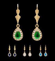 14K Yellow Gold 1ct Pear Gemstone Created Diamond Leverback Teardrop Earrings