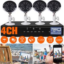 4CH 1080P HDMI DVR 700TVL Night IR Cut CCTV Camera Outdoor Home Security System
