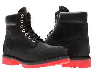 Timberland 6-Inch Premium Waterproof Black Nubuck/Red Men's Boots 6324A