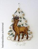 PLAUENER SPITZE ® Fensterbild WINTER Weihnachten WINTERWALD Hirsch REH Tanne
