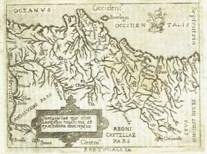 PORTUGAL 1667 A. ORTELIUS P. MARCHETTI Lovely Original Pocket ANTIQUE Map Lisbon