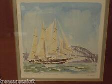 80s Acquerello australiano, vintage firmato Tall Ship FOTO INCORNICIATA NOTO ARTISTA