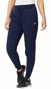 Fila Women's Fleece Jogger Pants Front Pockets Logo Size Small Blue