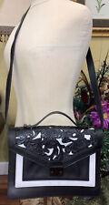 Auth.Loeffler Randall rider black/white floral  embossed shoulder bag~Beautiful!