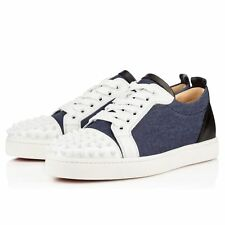 Louboutin Louis Spikes Junior Leather & Denim Sneakers White Sz 40.5 IT NIB