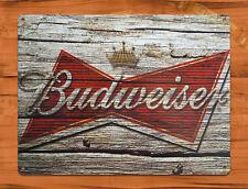"TIN SIGN ""Budweiser Wood"" Beer Bar Bud Garage Wall Decor"