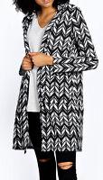 New Chevron Printed Monochrome Duster Coat Ladies 8 10 12 14