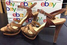 Gianni Bini Leather Peep Toe Tweed Platform Sandals SZ 11 Heels 2 Tone Brown