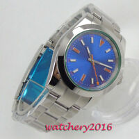 39mm Bliger Blau dial Saphirglas simple Automatisch Movement Uhr mens Watch