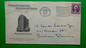 1936 advert cover inverted year James Robertson Hotel Nashville - Easton PA LS