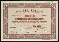 🇩🇪GERMANY 841/M -PLANETA Druckmaschinenwerk Aktiengesellschaft 1942 100 RM