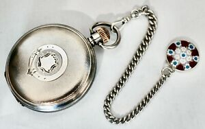 Antique 1894/95 Stg Silver Waltham 16s Riverside Hunter Pocket Watch & Fob Chain