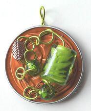 Anhänger Nespresso Schmuck Perlen Handarbeit orange kupfer grün silber