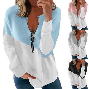 Womens Loose Zipper Blouse Ladies Autumn T Shirt Long Sleeve Patchwork Tee Tops