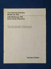 HARMAN KARDON hk 450 TECHNICAL SERVICE MANUAL FACTORY ORIGINAL THE REAL THING