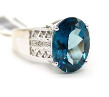 LADIES VINTAGE 10K WHITE GOLD LONDON BLUE TOPAZ & DIAMONDS RING SIZE 6