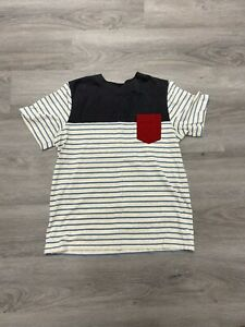 Boys Hanna Anderson Blue & Tan Stripe With Red Pocket Tshirt Size 150
