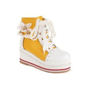 Women's Comfort Wedge Heel Platform 44-48 Casual Round Toe Ankle Boots Outdoor L