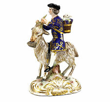 Rue Fontaine Au Roi Figurine Late 19th Century Man Riding Goat Hand Painted Gilt