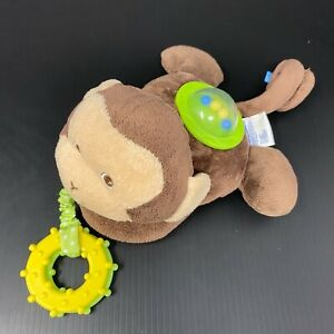 "Garanimals Brown Monkey Plush Green Teether Ring 6"" Rattle Balls Stroller Toy"