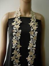 "TL171 2 6/8"" Star Swirl Gold Cream Metallic Trims Lace Border Sewing/Designer 1y"