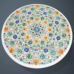 42 Inches Marble Dining Table Top with Peitra Dura Art Indoor Table Floral Work