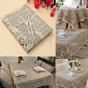 100x140cm Cotton Linen Fabric Print English Newspaper Throw Pillow Cloth