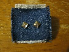 "Gold-Tone Metal Square 3-D Shape Stud Earrings 3/16"" x 3/16"" NEW"