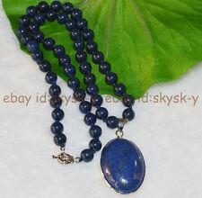 "Natural Blue Egyptian Lapis Lazuli Gemstone Beads Oval Pendant Necklace 18"" AAA"