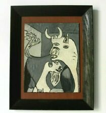 """Picasso's Guernica Bull and Mother Painting signed """"MacDonald"""" COA Wood Frame"""