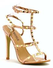 UK Women's Studded Ankle Strap High Heels Rivet Gladiators Pointy Sandals Shoes