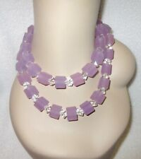 "Pono 40"" Long Chunky Resin Necklace Light Purple Clear Italy Modernist --Superb!"