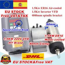 【ES】1.5KW 220V ER16 80mm Air Spindle Motor+1.5KW VFD Inverter+Clamp CNC Milling