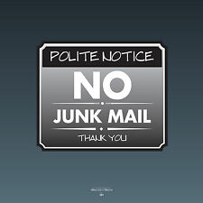 SKU0101 - No Junk Mail Front Door Sign Sticker - 140mm x 118mm