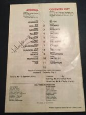 Signed 31/10/1981 Programme By Willie Young Of Arsenal