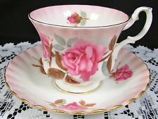 ROYAL ALBERT RADIANCE SERIES PINK ROSES FLUTED TEA CUP AND SAUCER
