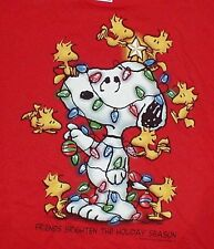 Peanuts Snoopy & Woodstock Christmas T-Shirt SS 'Friends' Red Mens Large