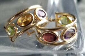 14K Yellow Gold BEZEL SET Multi Color Gemstone Round HUGGIE HOOP EARRINGS  EC