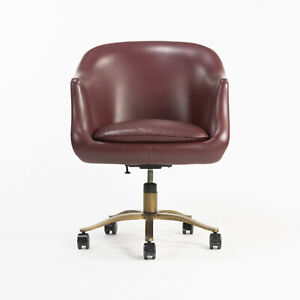 Nicos Zographos Alpha Bucket Desk Chairs with Bronze Base Cordovan Leather 6x