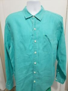 Tommy Bahama 100% Linen Long Sleeve Button Down Shirt Mens Large