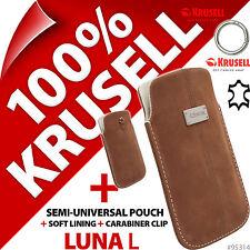 Nuevo Krusell Luna L Grande Genuino Cuero de gamuza móvil de la bolsa estuche Cubierta Delgado + Clip