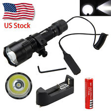 5000lm C8 T6 LED Tactical Hunting Flashlight Torch Mount Light Rifle Gun Rail