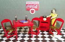 Renwal CARD TABLE RADIO PHONO & DOLL Ideal Vintage Dollhouse Furniture Miniature